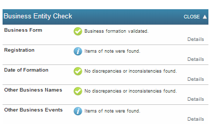 Business entity check overview