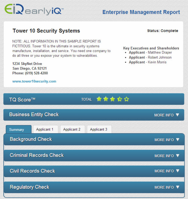 Diligence And Compliance Report  Bad Actor Check  Earlyiq