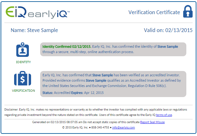 Accredited Investor Verification | EarlyIQ